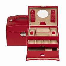 Красная кожаная шкатулка для украшений WindRose Beluga