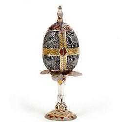 Дизайнерское серебряное яйцо с рубином, позолотой и цветной эмалью 000004386