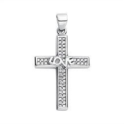 Серебряный декоративный крестик с фианитами 000118009