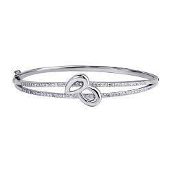 Серебряный жесткий браслет с дорожками из фианитов 000104631