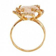 Золотое кольцо Сердце цветка с розовым кварцем и фианитами
