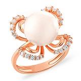 Кольцо из золота с жемчужиной и фианитами Женское обаяние