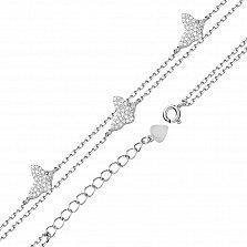 Серебряный двойной браслет Летнее настроение с фигурками бабочек в фианитах