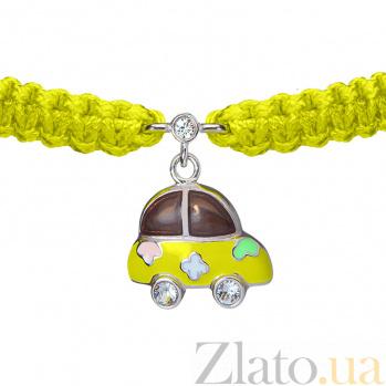Детский плетеный браслет Машинка с эмалью и фианитом, 14-11см 000080596
