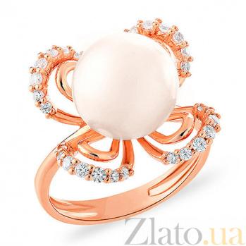 Кольцо из золота с жемчужиной и фианитами Женское обаяние SUF--153221
