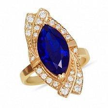 Золотое кольцо Изысканность Востока с сапфиром и дорожками фианитов