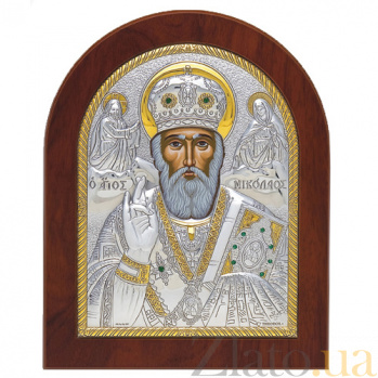 Икона Николай Чудотворец с инкрустацией камнями, 19х16см SXGСО Никол 19х16