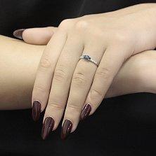 Серебряное кольцо Миранда с лондон топазом и фианитами