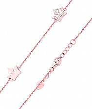 Серебряный браслет с короной, фианитами и позолотой 000131840