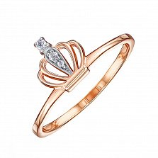 Золотое кольцо-корона Летисия в комбинированном цвете с фианитами