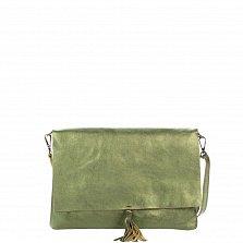 Кожаный клатч Genuine Leather 1534 зеленого цвета с плечевым ремнем