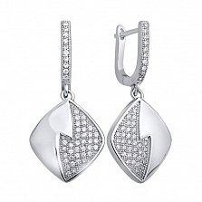 Серебряные серьги-подвески Жанье с усыпкой из белых фианитов