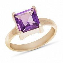 Золотое кольцо Фредерика с синтезированным аметистом