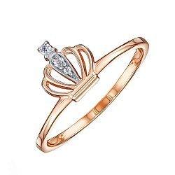 Кольцо-корона из красного золота с фианитами 000119394