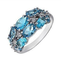 Серебряное кольцо с топазами и цирконием 000145685