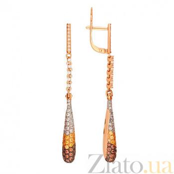 Серьги-подвески из красного золота с разноцветным цирконием Николь VLT--ТТ2256-3