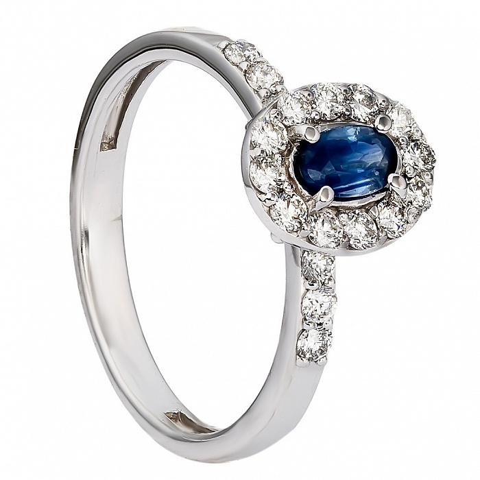 Кольцо из белого золота с сапфиром и бриллиантами Джосси 000030399