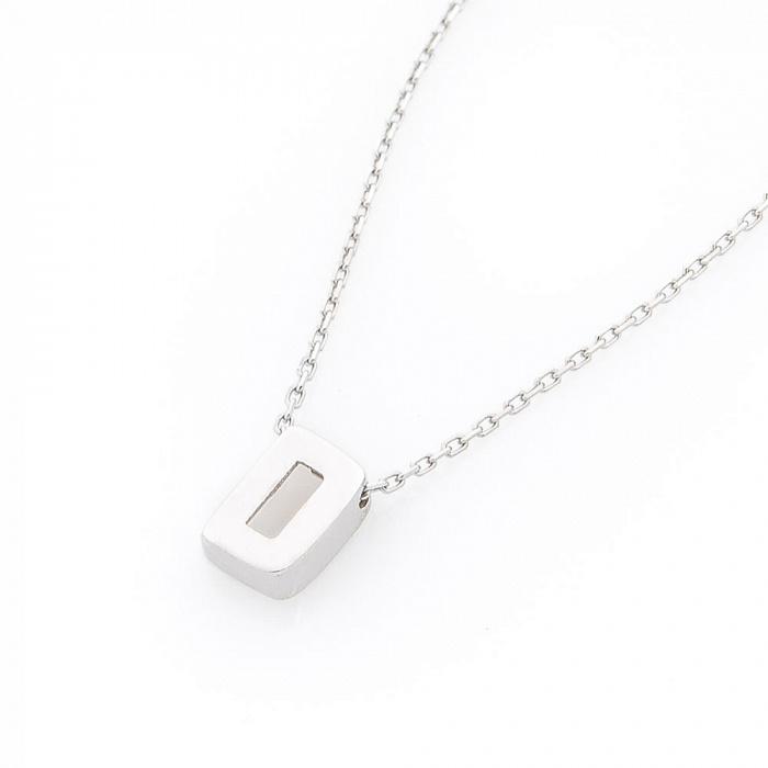 Минималистичное колье Буква D в белом золоте 000082453