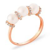 Золотое кольцо с жемчугом и фианитами Purity