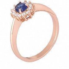 Позолоченное кольцо из серебра с синим фианитом Анкария