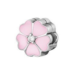 Срібний шарм-кліпса Примула з рожевою та білою емаллю і цирконієм 000078617