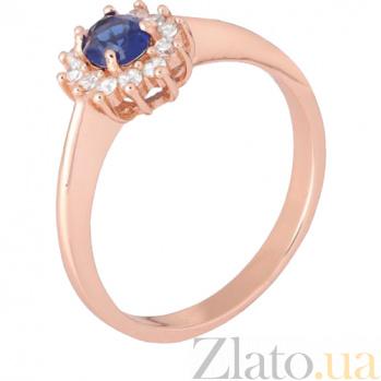 Позолоченное кольцо из серебра с синим фианитом Анкария 000028451