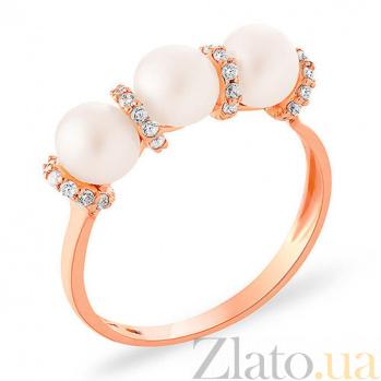 Золотое кольцо с жемчугом и фианитами Purity SUF--152864