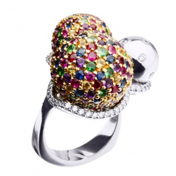 Золотое кольцо с драгоценными камнями Монпансье KBL--К1672/бел/руб