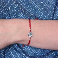 Шелковый браслет Lucky с серебряной вставкой-лапкой
