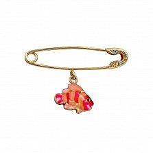Булавка из красного золота Рыбка с красной и розовой эмалью