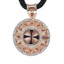 Колье Звезда Эрцгаммы со шнурком и позолоченной застежкой с эмалью и фианитами, ø3,5см