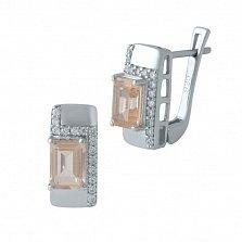 Серебряные серьги Тавус с нано морганитами и дорожками фианитов