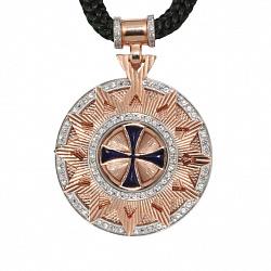 Колье Звезда Эрцгаммы с широким бунтиком, синей эмалью и фианитами на плетеном шнурке, ø 35мм 000070