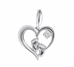 Серебряный кулон-сердце Маленькие стопы с фианитом