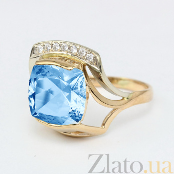 Золотое кольцо с топазом и фианитами Винсентия VLN--112-784-1