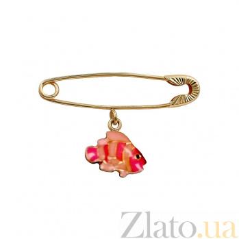 Булавка из красного золота Рыбка с красной и розовой эмалью 000081312