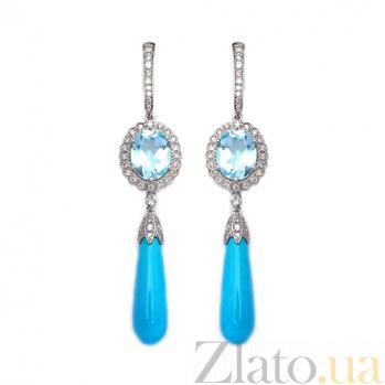 Золотые серьги с бриллиантами, топазами и бирюзой Veronica ZMX--EDTTurq-00446w