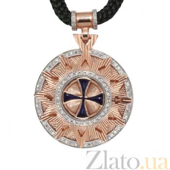 Колье Звезда Эрцгаммы с широким бунтиком, синей эмалью и фианитами на плетеном шнурке, ø 35мм 000070718