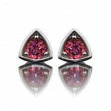 Серебряные серьги-пуссеты Триллион с розовыми топазами