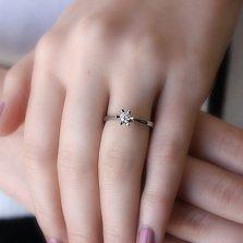 Золотое кольцо Ивис в белом цвете с бриллиантом