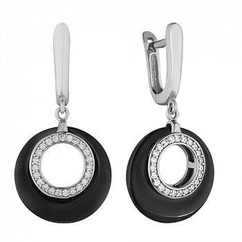 Керамические серьги с серебром и цирконием 000039209