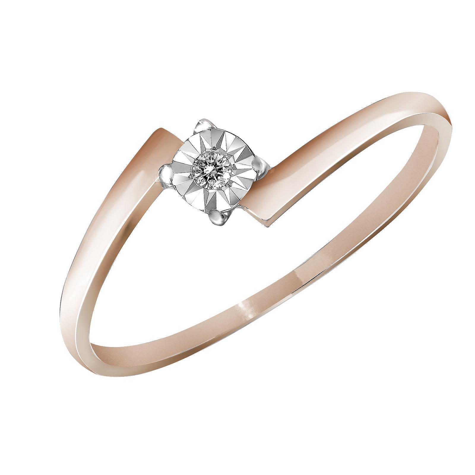 Кольцо из красного золота Карина с асимметричной шинкой и насечкой вокруг бриллианта