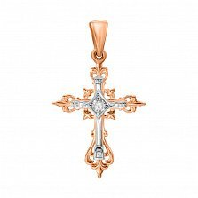 Узорный золотой крестик без распятия в комбинированного цвете с фианитом 000132813