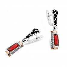 Серебряные серьги-подвески Самира с золотыми накладками, черной эмалью, красными и белыми фианитами