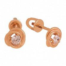 Золотые сережки с фианитами Агота