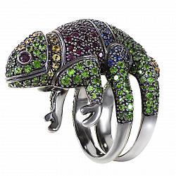 Кольцо Хамелеон из черного золота с сапфирами и рубинами