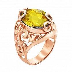 Узорное кольцо из красного золота с цитрином 000133429
