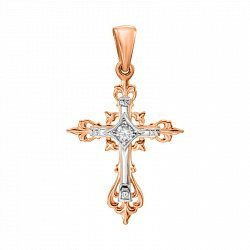 Узорный золотой крестик без распятия в комбинированном цвете с фианитом 000132813