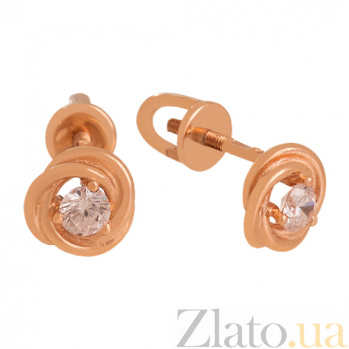 Золотые сережки с фианитами Агота VLN--213-1770