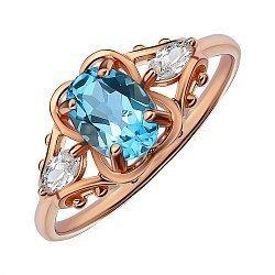 Кольцо из красного золота с топазом и фианитами 000141456
